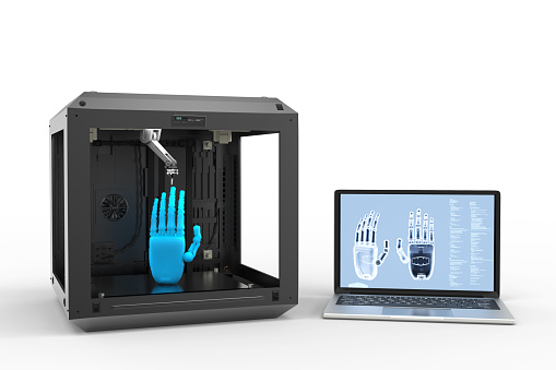 istock 3d printer with notebook 911549178