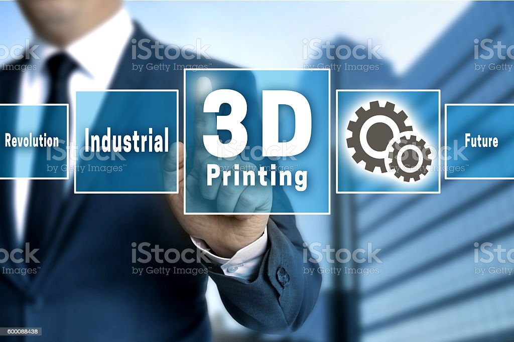 3d Printing touchscreen is operated by businessman stock photo