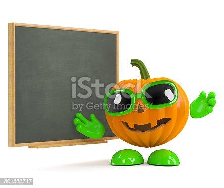 istock 3d Pumpkin man at the blackboard 501553717