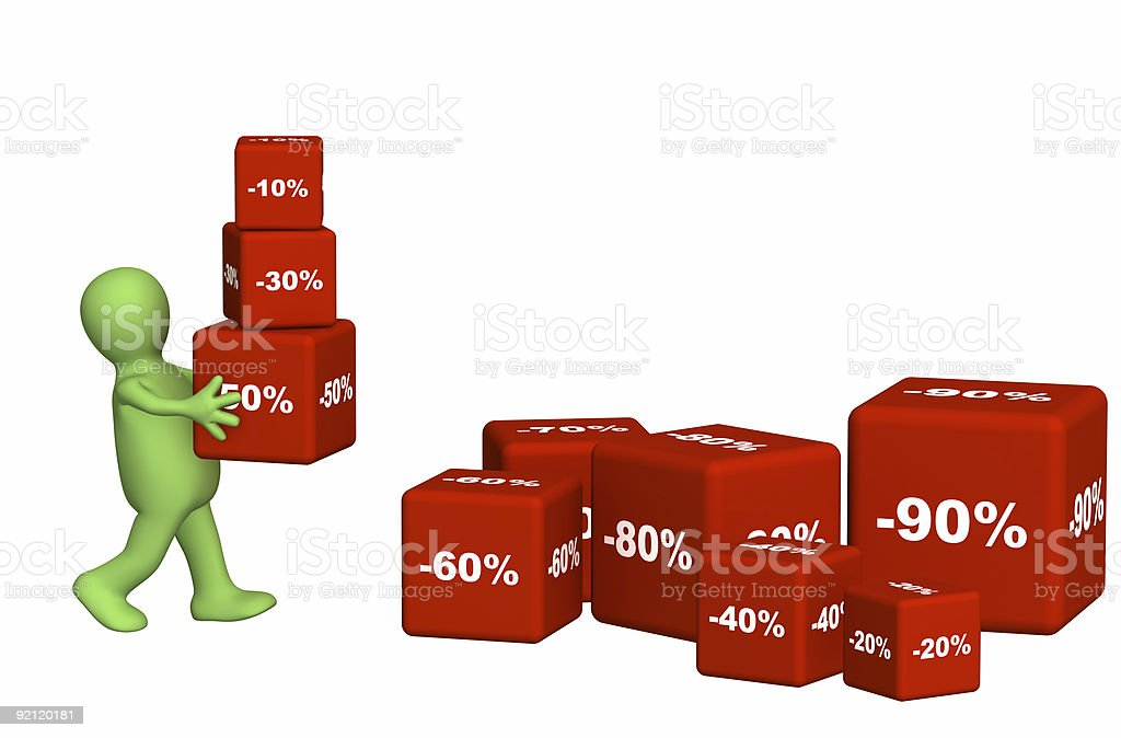 3d puppet carrying boxes royalty-free stock photo