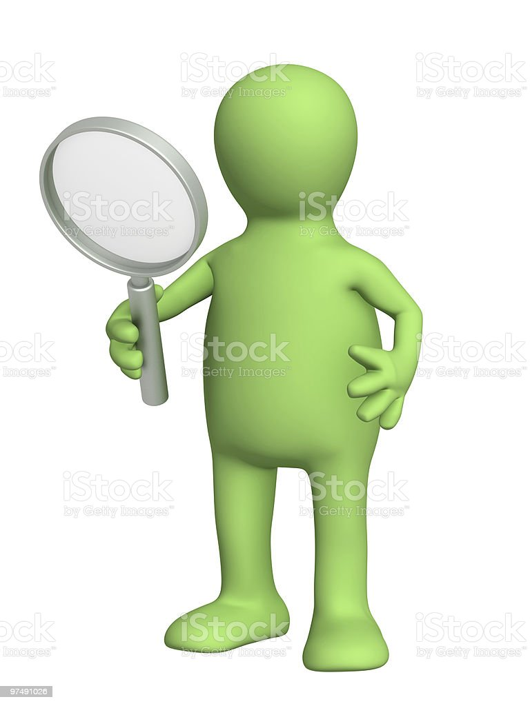 3d puppet, holding magnifier royalty-free stock photo