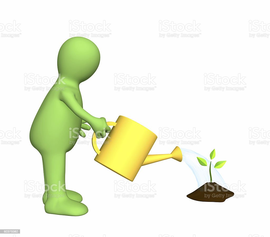 3d puppet watering a small plant royalty-free stock photo