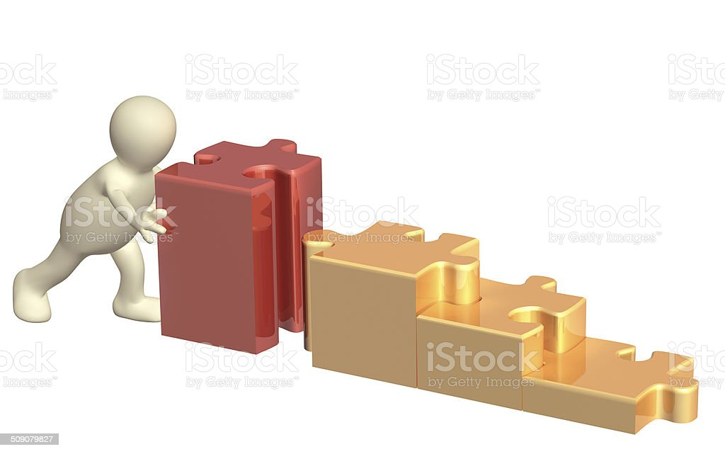 3d puppet with puzzles stock photo