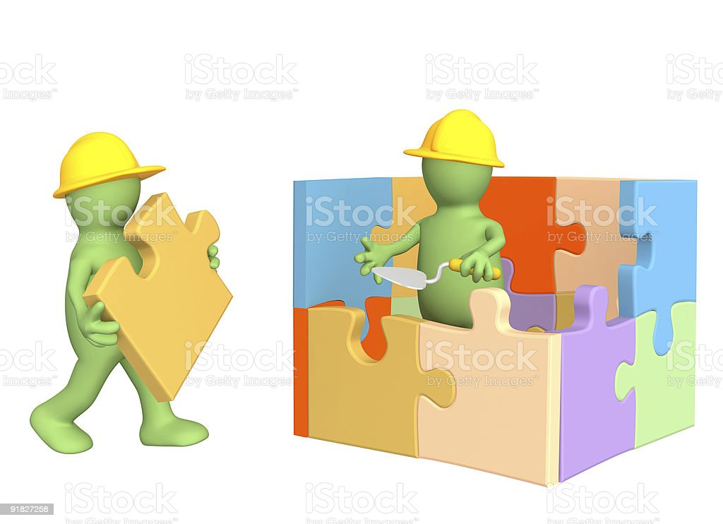 3d puppets building the house royalty-free stock photo