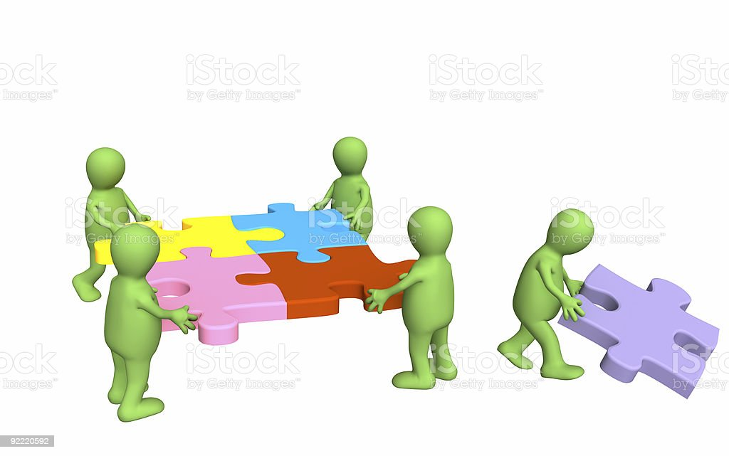 3d puppets, holding in hands a puzzle royalty-free stock photo