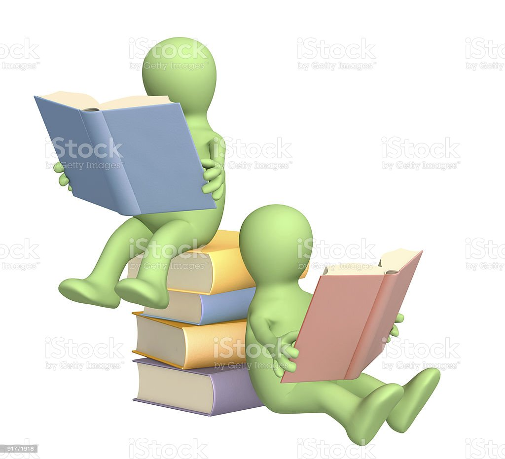 3d puppets, reading the book royalty-free stock photo