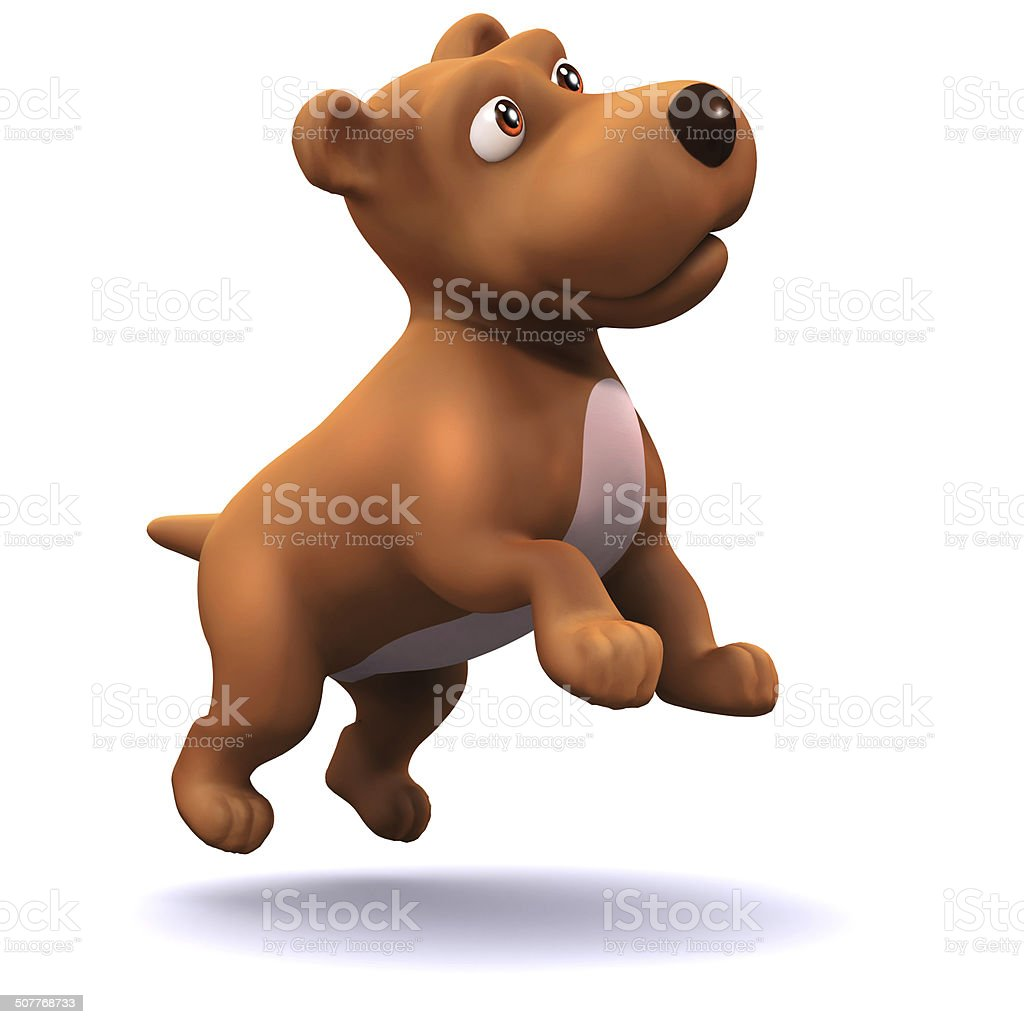 3d Puppy dog leaps in the air stock photo