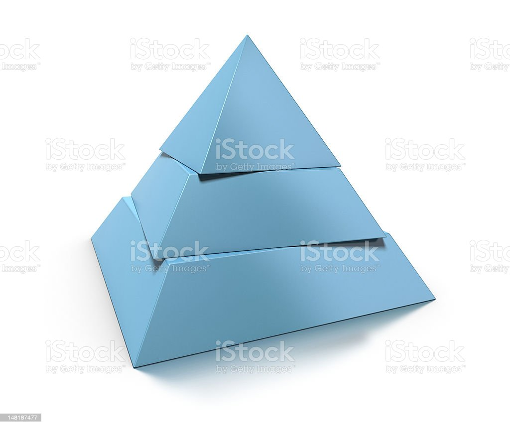 3d pyramid, three levels stock photo