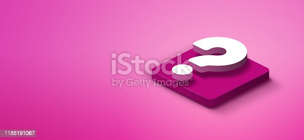 istock 3d question mark on pink abstract background 1155191067