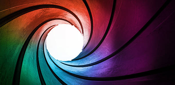 3d rainbow colored abstract frame barrel tube stock photo