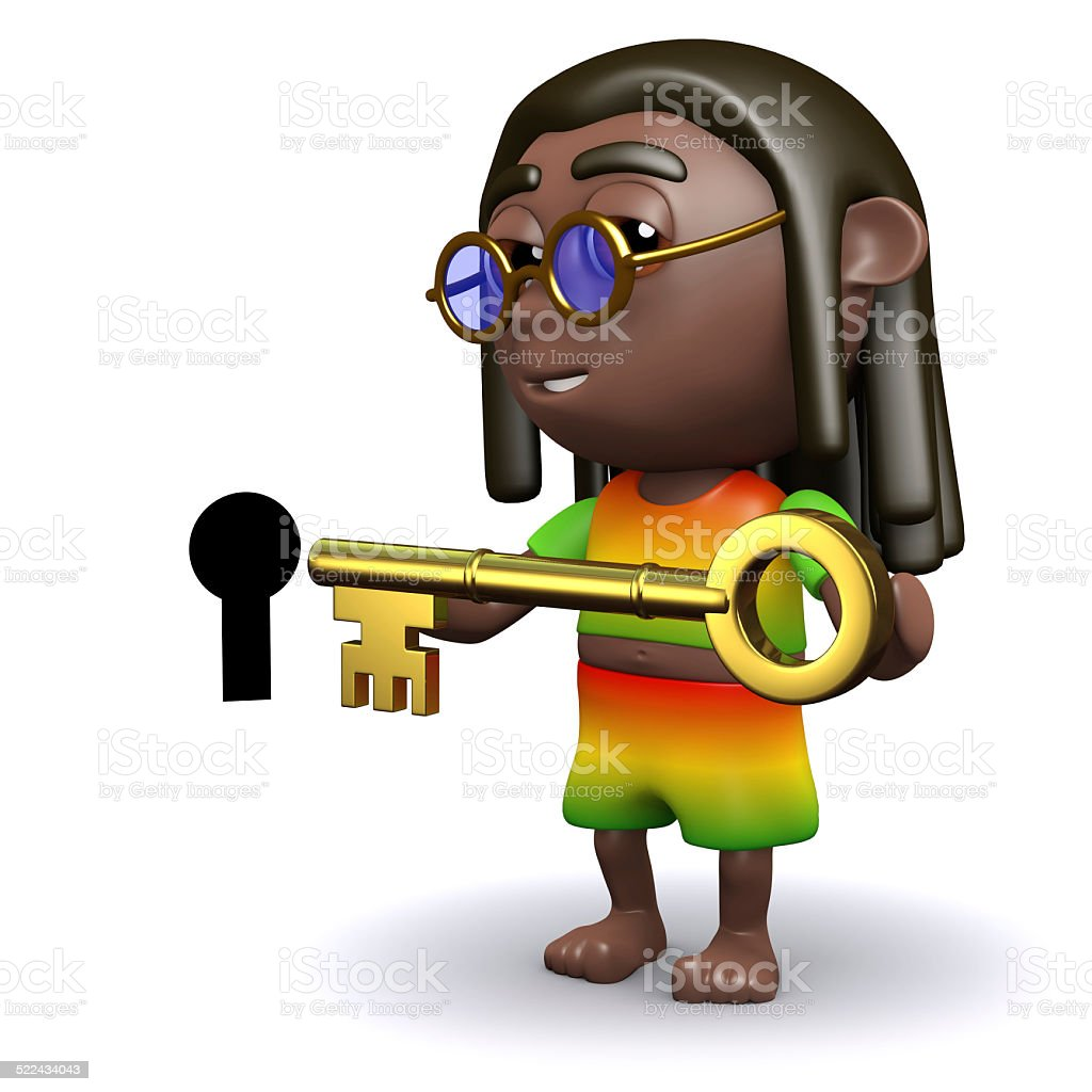 3d Rastafarian unlocks the door stock photo