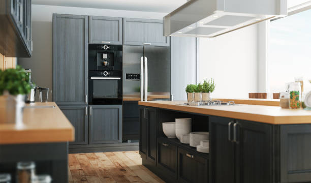 3d realistic modern country kitchen - kitchen imagens e fotografias de stock