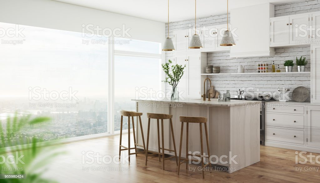 3d realistic modern kitchen stock photo