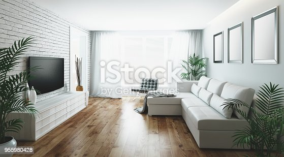 Realistic illustration 3d render of a living room