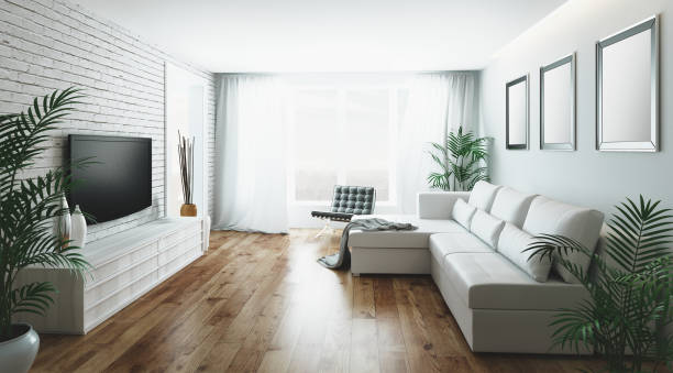 3d realistic modern living room stock photo