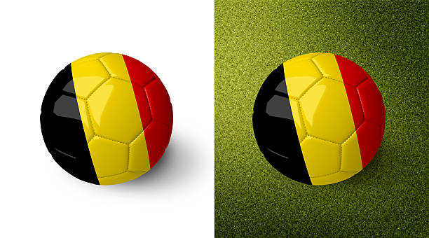 3d realistic soccer ball with the flag of Belgium. stock photo