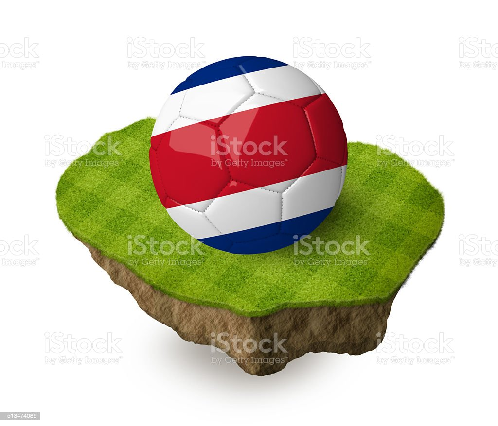 3d realistic soccer ball with the flag of Costa Rica. stock photo