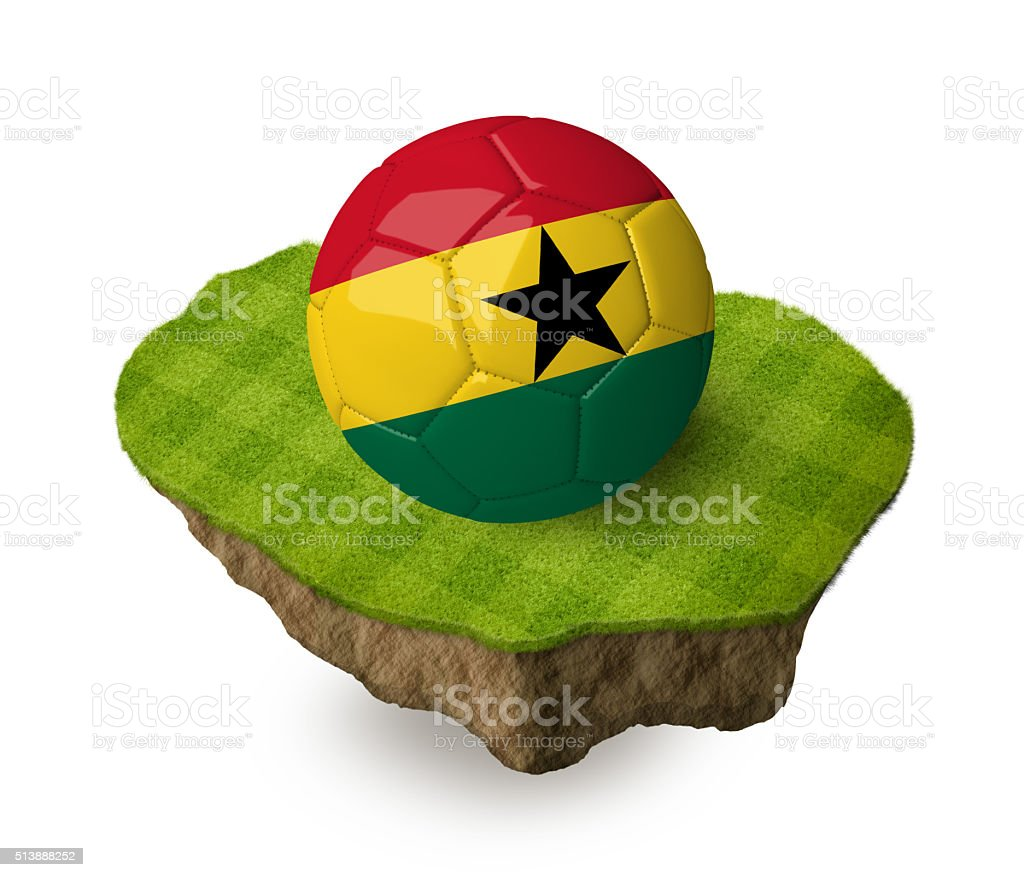 3d realistic soccer ball with the flag of Ghana. stock photo