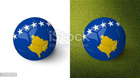 992854608 istock photo 3d realistic soccer ball with the flag of Kosovo. 510306106
