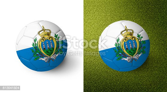 992854608 istock photo 3d realistic soccer ball with the flag of San Marino. 512041324