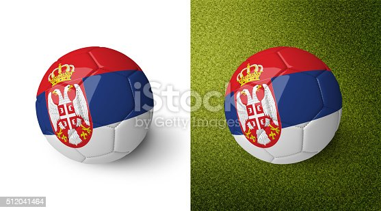 992854608 istock photo 3d realistic soccer ball with the flag of Serbia. 512041464