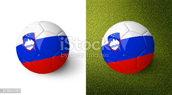 992854608 istock photo 3d realistic soccer ball with the flag of Slovenia. 512041752