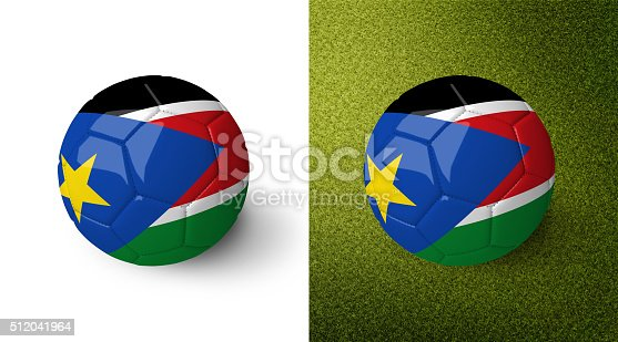 992854608 istock photo 3d realistic soccer ball with the flag of South Sudan. 512041964