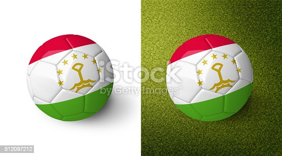 992854608 istock photo 3d realistic soccer ball with the flag of Tajikistan. 512097212