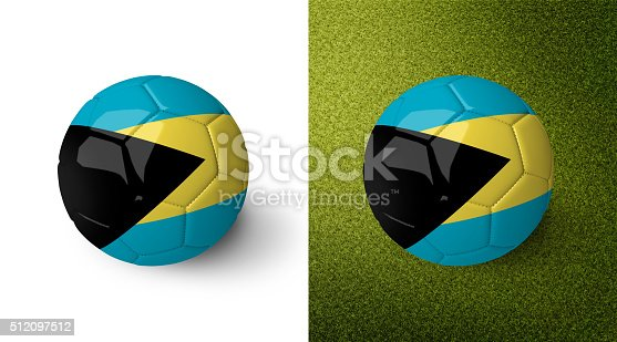 992854608 istock photo 3d realistic soccer ball with the flag of the Bahamas. 512097512