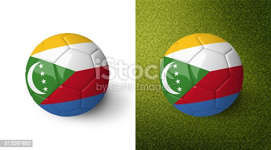 992854608 istock photo 3d realistic soccer ball with the flag of the Comoros. 512097652