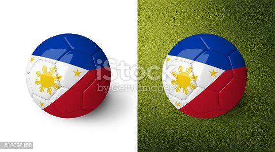 992854608 istock photo 3d realistic soccer ball with the flag of the Philippines. 512098188
