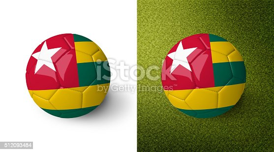 992854608 istock photo 3d realistic soccer ball with the flag of Togo. 512093484