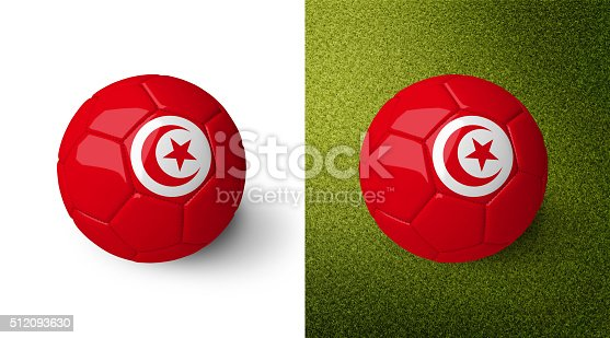 992854608 istock photo 3d realistic soccer ball with the flag of Tunisia. 512093630