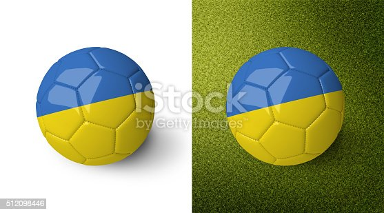 992854608 istock photo 3d realistic soccer ball with the flag of Ukraine. 512098446