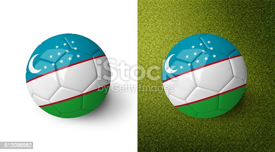 992854608 istock photo 3d realistic soccer ball with the flag of Uzbekistan. 512098582