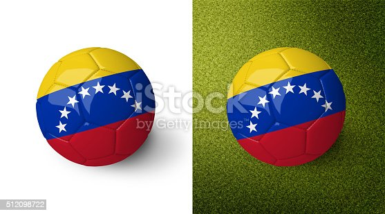 992854608 istock photo 3d realistic soccer ball with the flag of Venezuela. 512098722