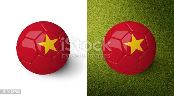 992854608 istock photo 3d realistic soccer ball with the flag of Vietnam. 512098780