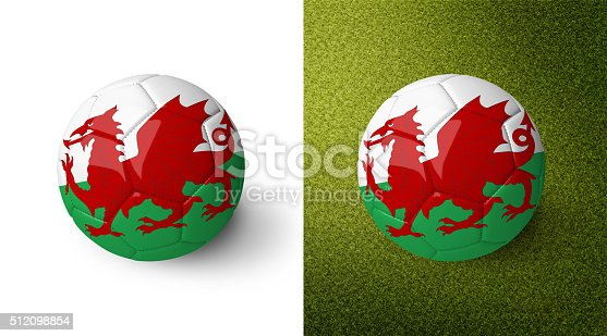992854608 istock photo 3d realistic soccer ball with the flag of Wales. 512098854