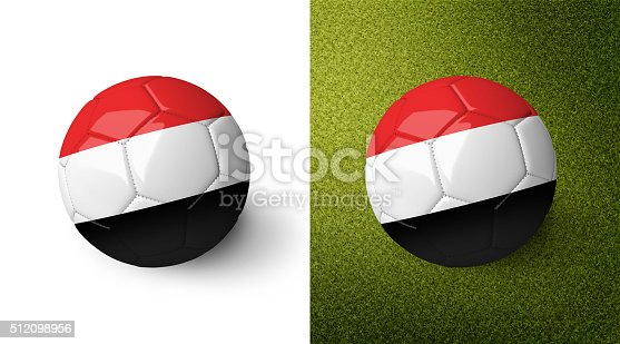 992854608 istock photo 3d realistic soccer ball with the flag of Yemen. 512098956
