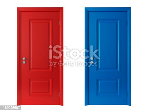 3d red and blue doors on white backgroundPlease see some similar pictures from my portfolio: