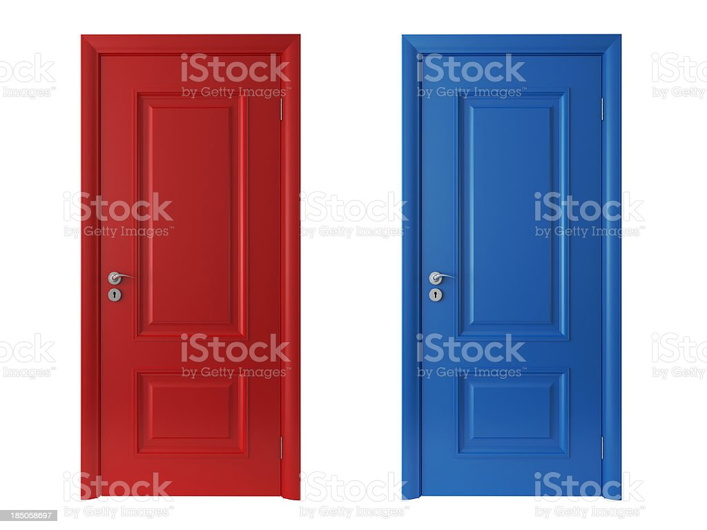 3d red and blue doors on white background stock photo