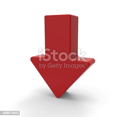 istock 3d red arrow, downwards 466674842