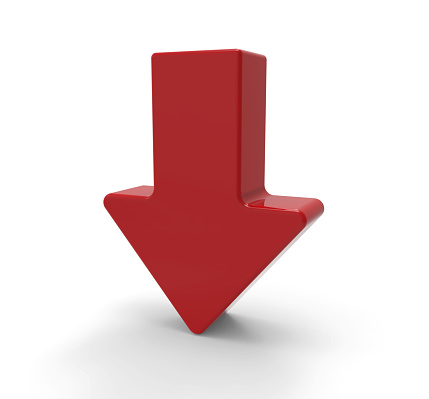 1023882582 istock photo 3d red arrow, downwards 466674842