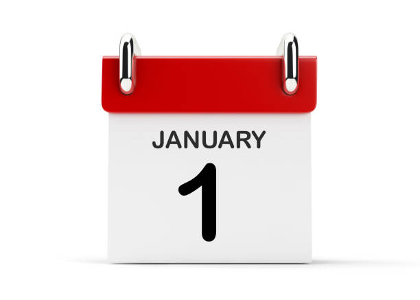 3d red calendar standing on white background.january - new years day stock pictures, royalty-free photos & images