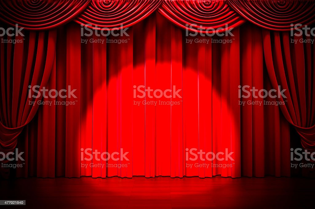 3d red curtain lit by spot light stock photo