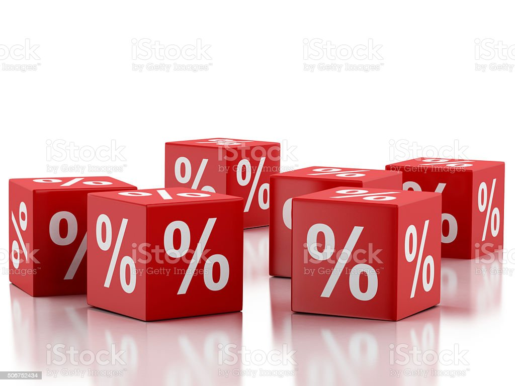 3d Red discount cubes. Sale concept. stock photo
