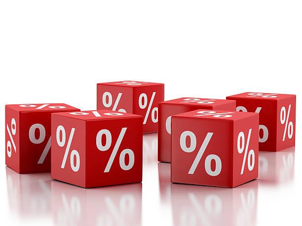3 d vermelho cubos de desconto. Conceito de venda. - foto de acervo