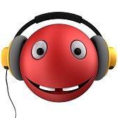 Music Emoji With Headphones Isolated On White Background