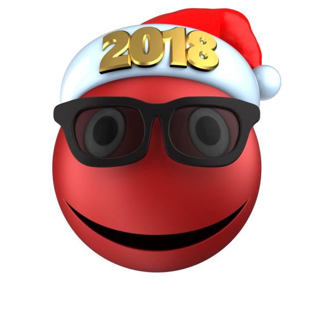sonrisa de emoticon rojo 3d con 2018 sombrero de la navidad - sequence animation fotografías e imágenes de stock
