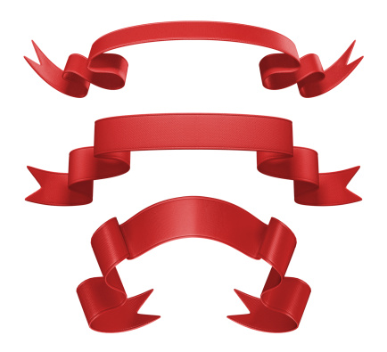 istock 3d red festive ribbon banner set, isolated object 503238393